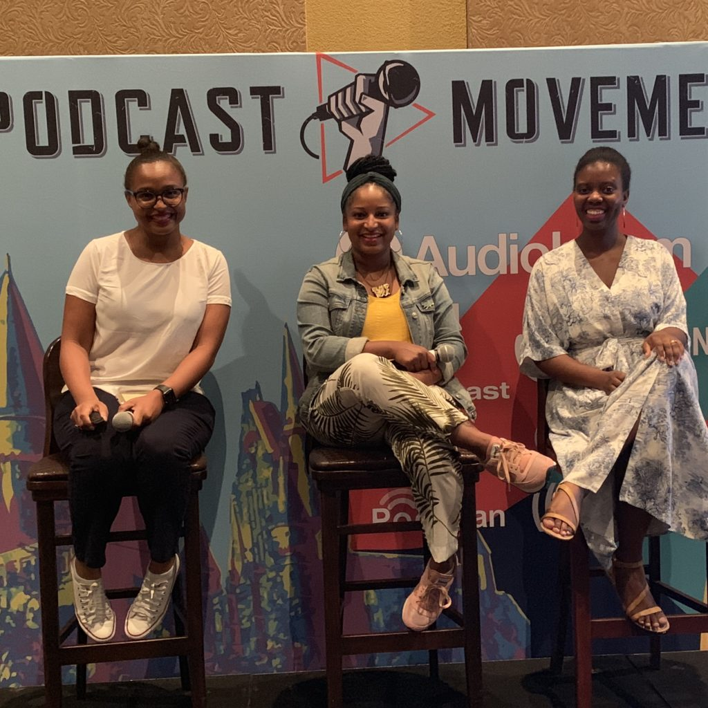 Kerry-Ann, Mikelah and Rachel at Podcast Movement