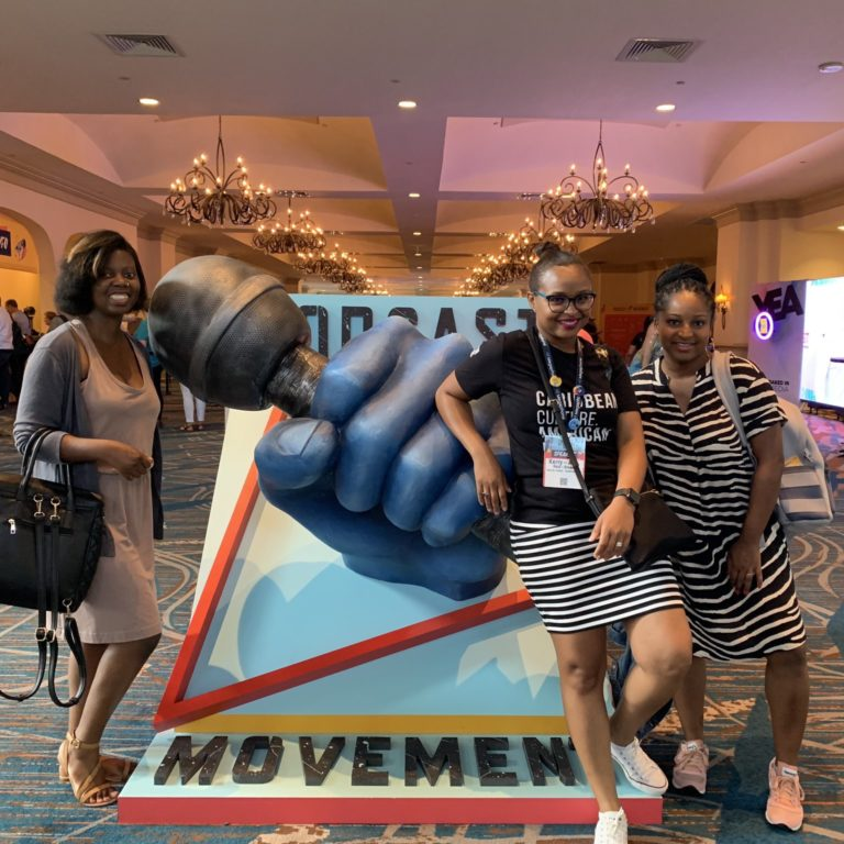 Breadfruit Media Collective Kerry-Ann Rachel and Mikelah at Podcast Movement