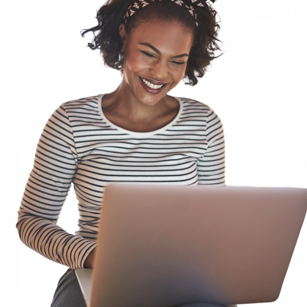 Happy African American Woman looking a Podcasting for a Niche Audience Course