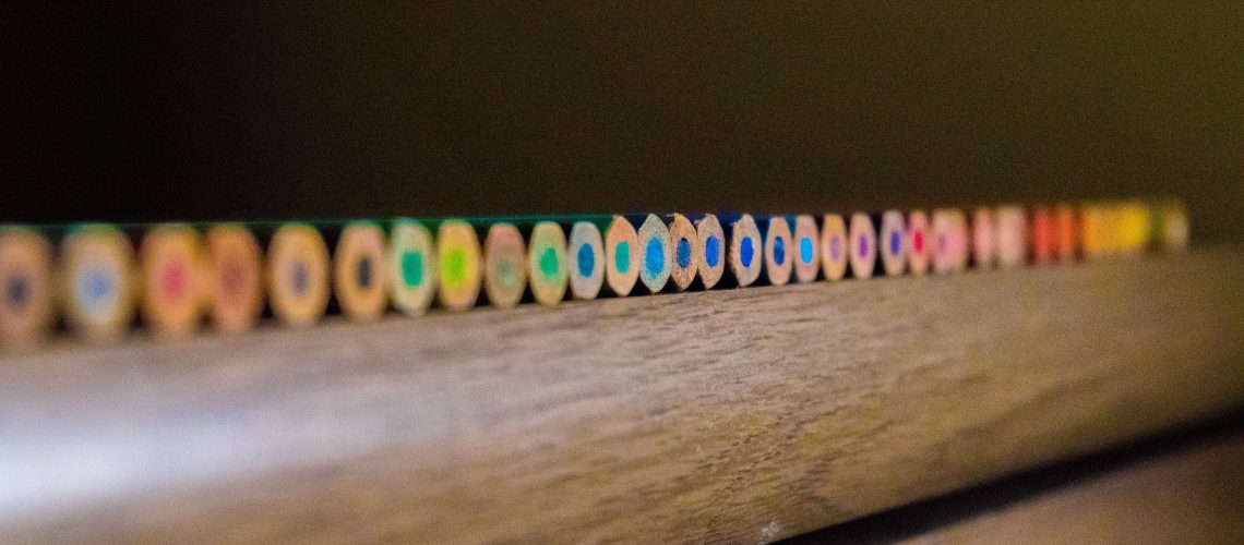 color pencils reflecting variety Starting a new podcast Consider all categories